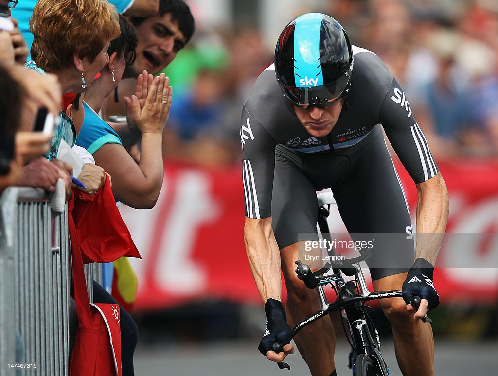 Bradley Wiggins of Great Britain SKY Procycling in action during the Tour de France Prologue at Parc d'Avroy on June 30, 2012 in Liege, Belgium. The 99th Tour de France starts with 6.4km individual time trial around the streets of Liege.