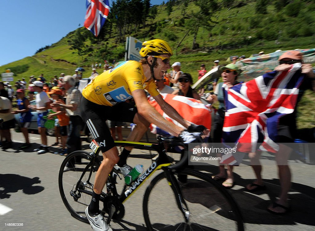 <a gi-track='captionPersonalityLinkClicked' href=/galleries/search?phrase=Bradley+Wiggins&family=editorial&specificpeople=182490 ng-click='$event.stopPropagation()'>Bradley Wiggins</a> of team SKY PRO CYCLING during Stage 16 of the Tour de France on July 18, 2012, Pau to Bagneres-de-Luchon, France.