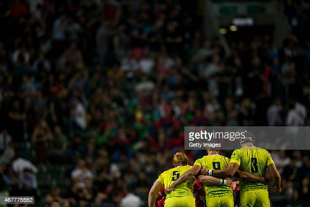 Bradley Wilikin Edward Jenkins and Sam Myers of Autralia during the Australia v Portugal match as part of the Hong Kong Sevens the sixth round of the...