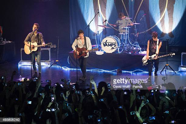 Bradley William Simpson James Daniel McVey Connor Samuel John Ball and Tristan Oliver Vance Evans from The Vamps perform at Le Trianon on October 22...