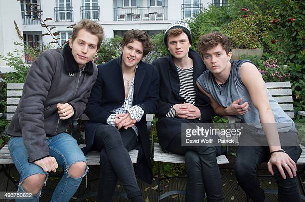 Bradley William Simpson James Daniel McVey Connor Samuel John Balland Tristan Oliver Vance Evans from The Vamps pose for Portrait Session at Le...