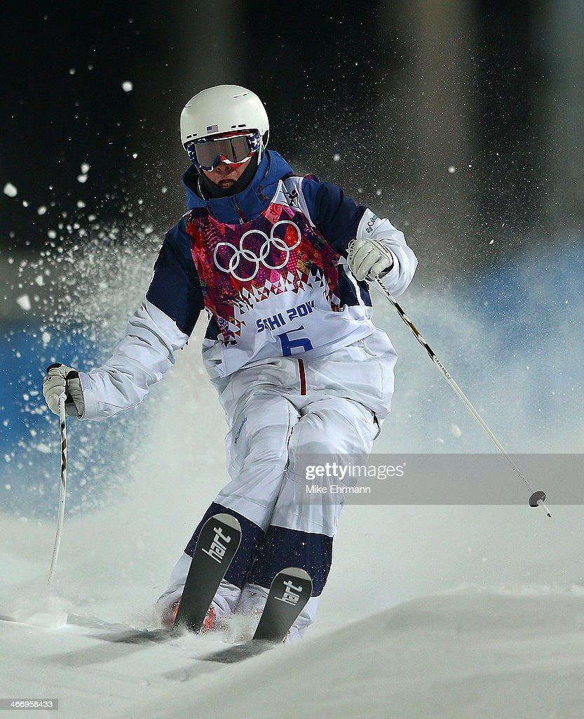 Bradley Wilson of the United States practices during training for Moguls competition at the Extreme Park at Rosa Khutor Mountain on February 5, 2014 in Sochi, Russia.