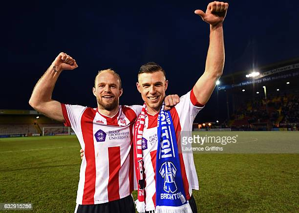 Bradley Wood and Jack Muldoon of Lincoln City celebrate their 30 win after the Emirates FA Cup Fourth Round match between Lincoln City and Brighton...