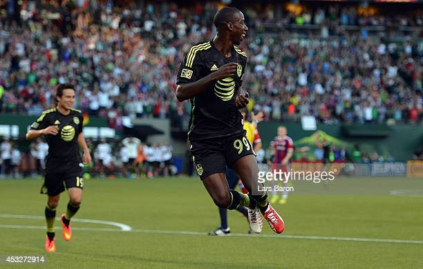Bradley Wright Phillips of MLS AllStars celebrates after scoring his teams first goal during the MLS AllStar game between the MLS AllStars and FC...