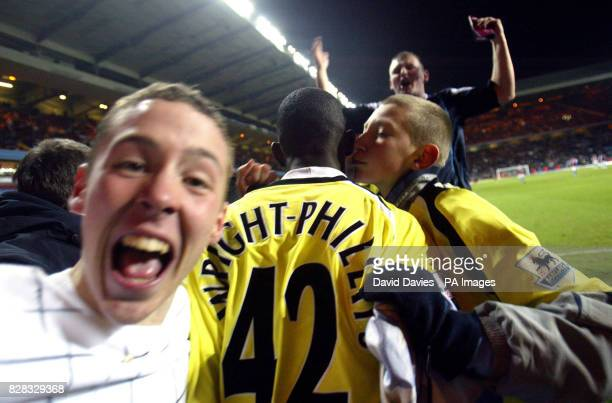 Bradley WrightPhillips is mobbed by City fans after Micah Richards' late equaliser against Aston Villa during the FA Cup 5th Round tie at Villa Park...