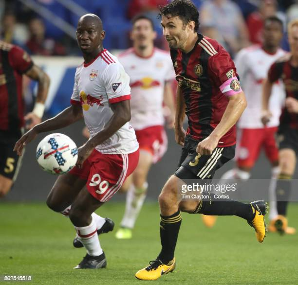Bradley WrightPhillips of New York Red Bulls and Michael Parkhurst of Atlanta United in action during the New York Red Bulls Vs Atlanta United FC MLS...