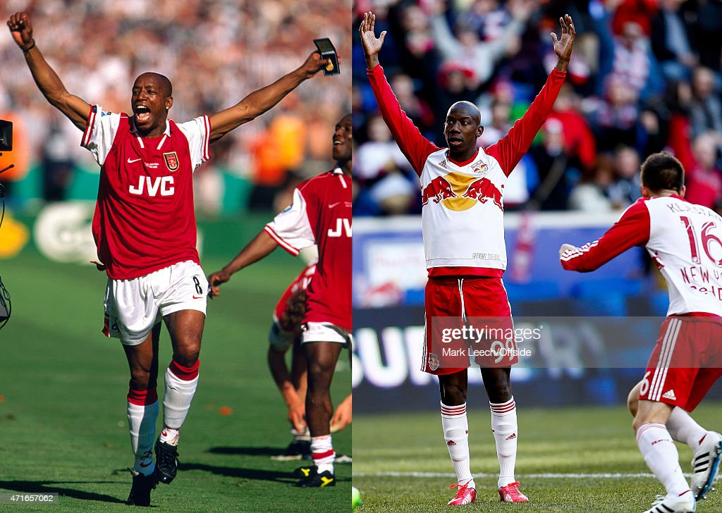 In this composite image a comparison has been made between images 522102933 and 467283872 of Father and Son Wembley FA Cup Final Arsenal v Newcastle...