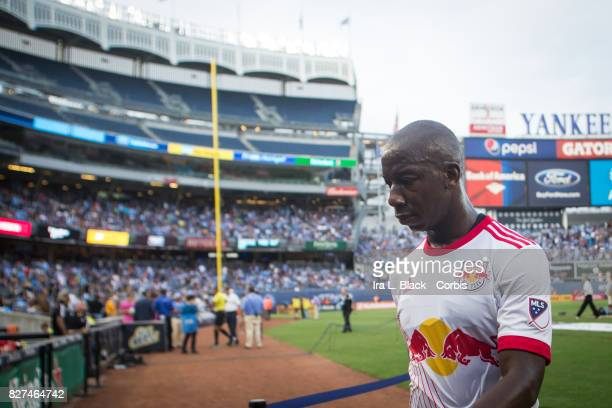 Bradley WrightPhillips of New York Red Bulls seems upset as he walks off the field for half time during the MLS match between the New York City FC...