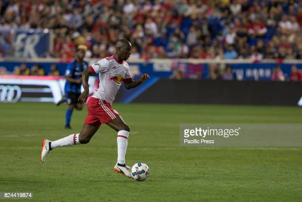 Bradley WrightPhillips of Red Bulls controls ball during MLS game between New York Red Bulls and Montreal Impact on Red Bull arena Red Bulls won 4 0