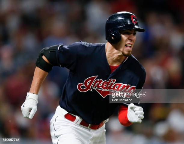 Bradley Zimmer of the Cleveland Indians runs out a one run triple off Bruce Rondon of the Detroit Tigers during the eighth inning at Progressive...