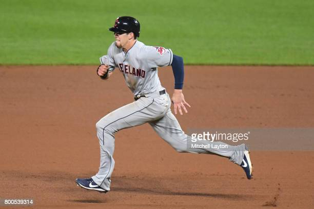 Bradley Zimmer of the Cleveland Indians runs to second base during a baseball game against the Baltimore Orioles at Oriole park at Camden Yards on...