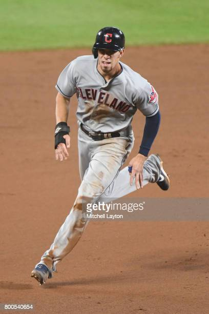 Bradley Zimmer of the Cleveland Indians runs to third base during a baseball game against the Baltimore Orioles at Oriole park at Camden Yards on...