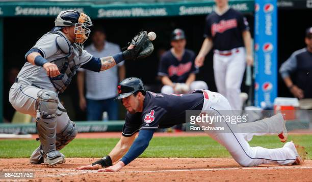 Bradley Zimmer of the Cleveland Indians scores past catcher Jesus Sucre of the Tampa Bay Rays on a single by Jason Kipnis during the third inning at...
