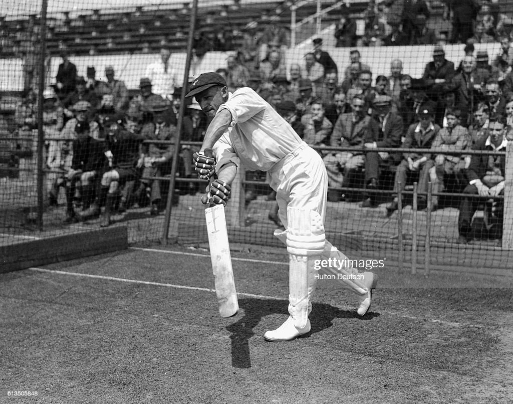 Cricketer, Donald Bradman Warming Up at the Nets at Trent Bridge in 1938 : News Photo