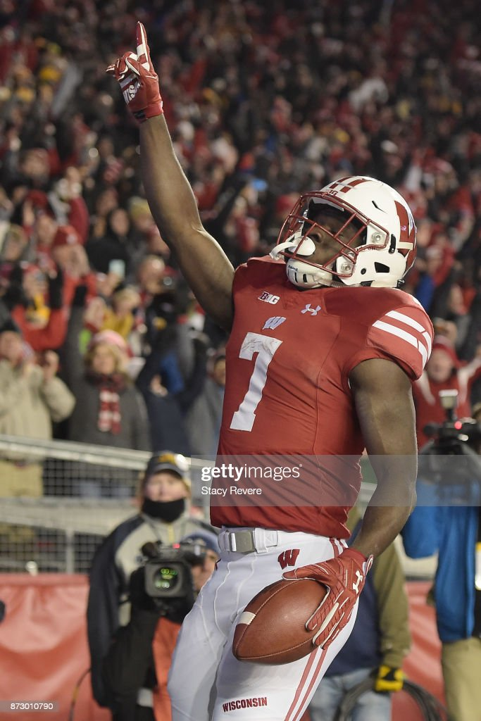 Bradrick Shaw #7 of the Wisconsin Badgers celebrates a touchdown against the Iowa Hawkeyes during the fourth quarter of a game at Camp Randall Stadium on November 11, 2017 in Madison, Wisconsin.