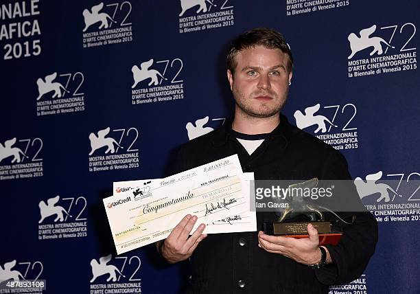 Brady Corbet with the Orizzonti Award for Best Director and the Lion of the Future – 'Luigi De Laurentiis' Venice award for a Debut Film 'The...