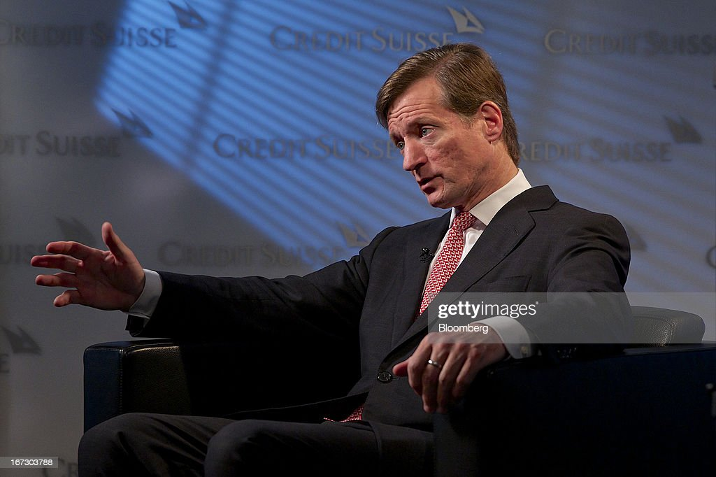 Brady Dougan, chief executive officer of Credit Suisse Group AG, gestures during a Bloomberg Television interview in Zurich, Switzerland, on Wednesday, 24, 2013. Credit Suisse Group AG, the second- biggest Swiss bank, posted a jump in first-quarter profit as year-earlier charges related to its own debt and bonus payments weren't repeated. . Photographer: Gianluca Colla/Bloomberg via Getty Images