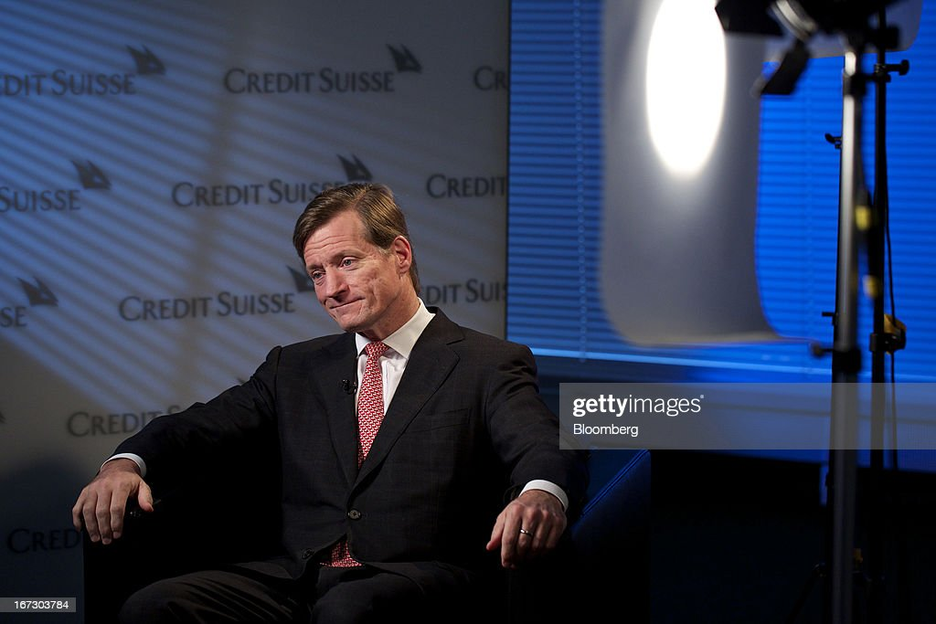 Brady Dougan, chief executive officer of Credit Suisse Group AG, pauses during a Bloomberg Television interview in Zurich, Switzerland, on Wednesday, 24, 2013. Credit Suisse Group AG, the second- biggest Swiss bank, posted a jump in first-quarter profit as year-earlier charges related to its own debt and bonus payments weren't repeated. . Photographer: Gianluca Colla/Bloomberg via Getty Images