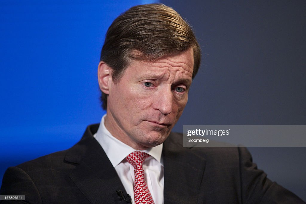 Brady Dougan, chief executive officer of Credit Suisse Group AG, pauses during a Bloomberg Television interview in Zurich, Switzerland, on Wednesday, April 24, 2013. Credit Suisse Group AG, the second- biggest Swiss bank, posted a jump in first-quarter profit as year-earlier charges related to its own debt and bonus payments weren't repeated. Photographer: Gianluca Colla/Bloomberg via Getty Images