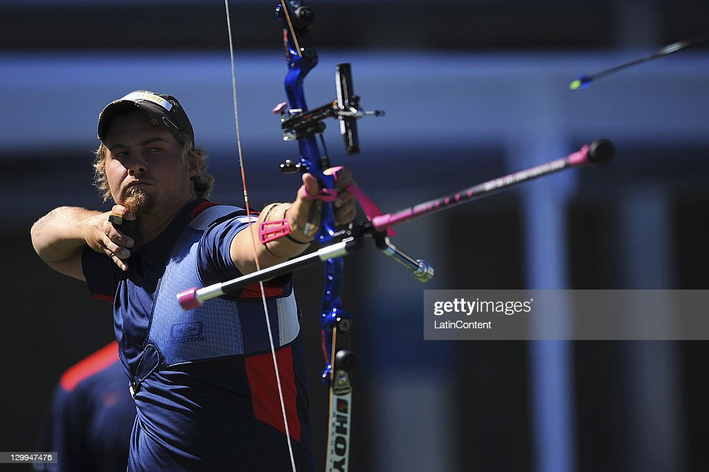 Brady Ellison, of USA, in action during the men's individual of the archery competition as part of the Pan American Games Guadalajara 2011 at Pan American Archery Stadium on October 22, 2011 in Guadalajara, Mexico.