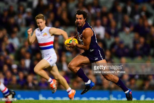 Brady Grey of the Dockers breaks away during the 2017 AFL round 03 match between the Fremantle Dockers and the Western Bulldogs at Domain Stadium on...