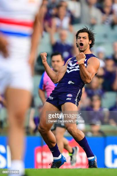 Brady Grey of the Dockers celebrates a goal during the 2017 AFL round 03 match between the Fremantle Dockers and the Western Bulldogs at Domain...