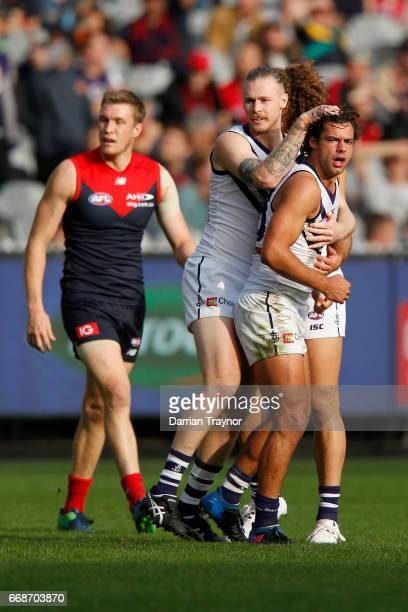 Brady Grey of the Dockers celebrates a goal during the round four AFL match between the Melbourne Demons and the Fremantle Dockers at Melbourne...