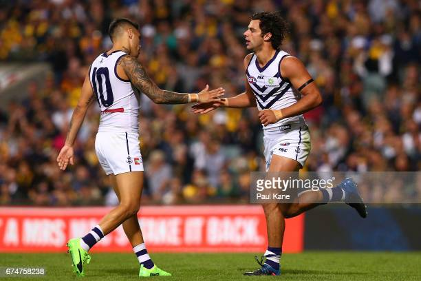 Brady Grey of the Dockers celebrates a goal during the round six AFL match between the West Coast Eagles and the Fremantle Dockers at Domain Stadium...