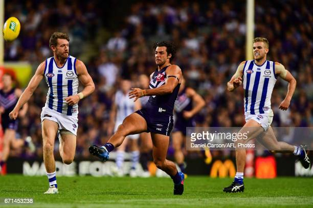 Brady Grey of the Dockers kicks the ball during the 2017 AFL round 05 match between the Fremantle Dockers and the North Melbourne Kangaroos at Domain...