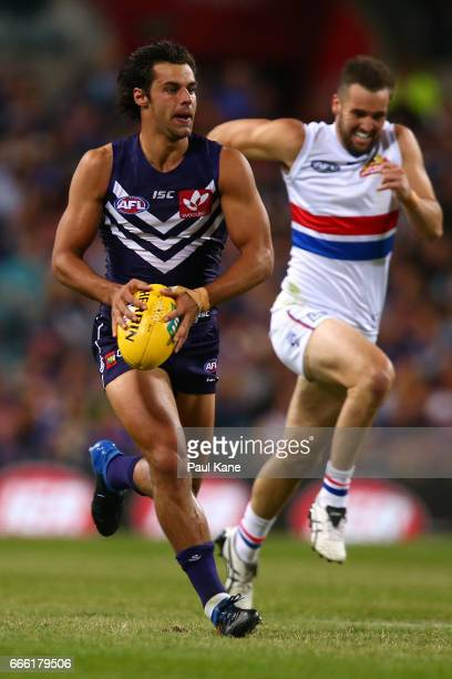 Brady Grey of the Dockers looks to pass the ball during the round three AFL match between the Fremantle Dockers and the Western Bulldogs at Domain...