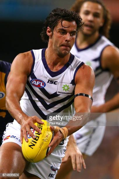 Brady Grey of the Dockers looks to pass the ball during the round six AFL match between the West Coast Eagles and the Fremantle Dockers at Domain...