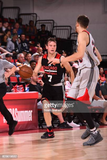 Brady Heslip of the Chicago Bulls dribbles the ball during the 2017 Summer League game against the Portland Trail Blazers on July 12 2017 at Cox...