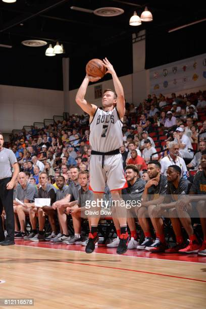 Brady Heslip of the Chicago Bulls shoots the ball against the Atlanta Hawks during the 2017 Las Vegas Summer League on July 10 2017 at the Cox...
