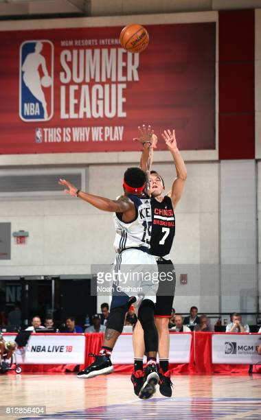 Brady Heslip of the Chicago Bulls shoots the ball against the Washington Wizards during the 2017 Summer League on July 11 2017 at Cox Pavillion in...