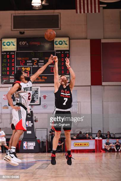 Brady Heslip of the Chicago Bulls shoots the ball during the 2017 Summer League game against the Portland Trail Blazers on July 12 2017 at Cox...