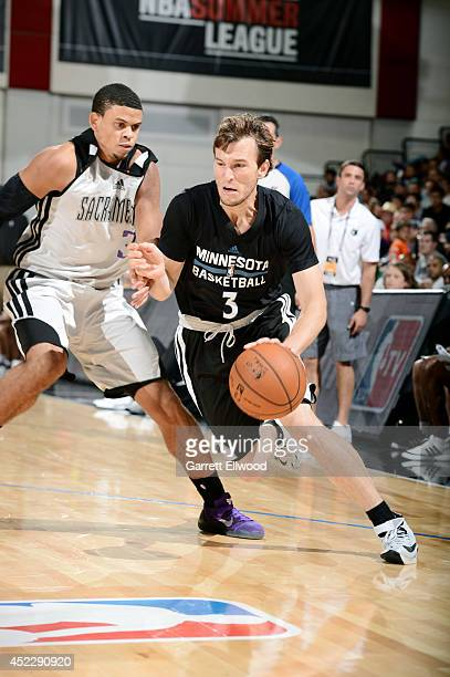 Brady Heslip of the Minnesota Timberwolves drives against the Sacramento Kings during the Samsung NBA Summer League 2014 on July 17 2014 at the Cox...