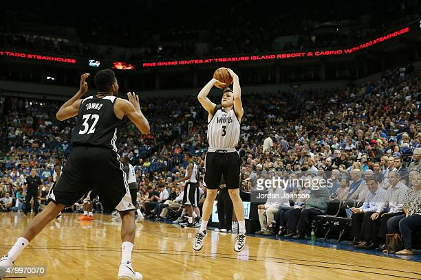 Brady Heslip of the Minnesota Timberwolves shoots the ball during the scrimmage on July 8 2015 at Target Center in Minneapolis Minnesota NOTE TO USER...