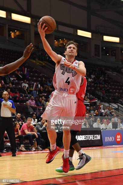 Brady Heslip of the Raptors 905 drives to the basket against the Maine Red Claws during Game Two of the NBA DLeague Eastern Conference Finals on...