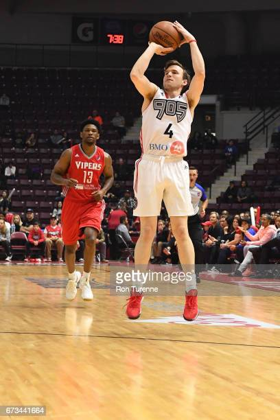 Brady Heslip of the Raptors 905 shoots the ball against the Rio Grande Valley Vipers during Game Two of the DLeague Finals at the Hershey Centre on...