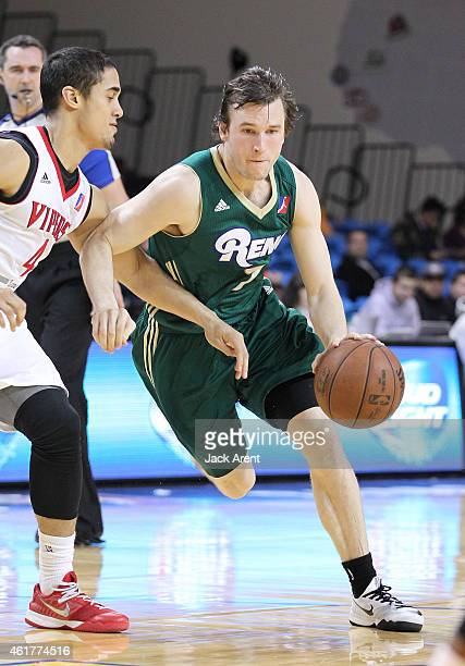 Brady Heslip of the Reno Bighorns dribbles the ball against the Rio Grande Valley Vipers during the 2015 NBA DLeague Showcase presented by SAMSUNG on...