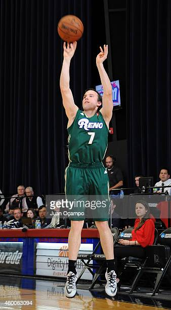 Brady Heslip of the Reno Bighorns shoots the jumper against the Bakersfield Jam during a DLeague game on December 5 2014 at Dignity Health Event...