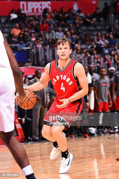 Brady Heslip of the Toronto Raptors handles the ball against the Los Angeles Clippers on October 5 2016 at STAPLES Center in Los Angeles California...