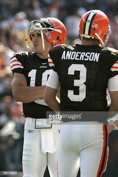 Brady Quinn and Derek Anderson of the Cleveland Browns look on during the NFL game against the Cincinnati Bengals at the Cleveland Browns Stadium on...