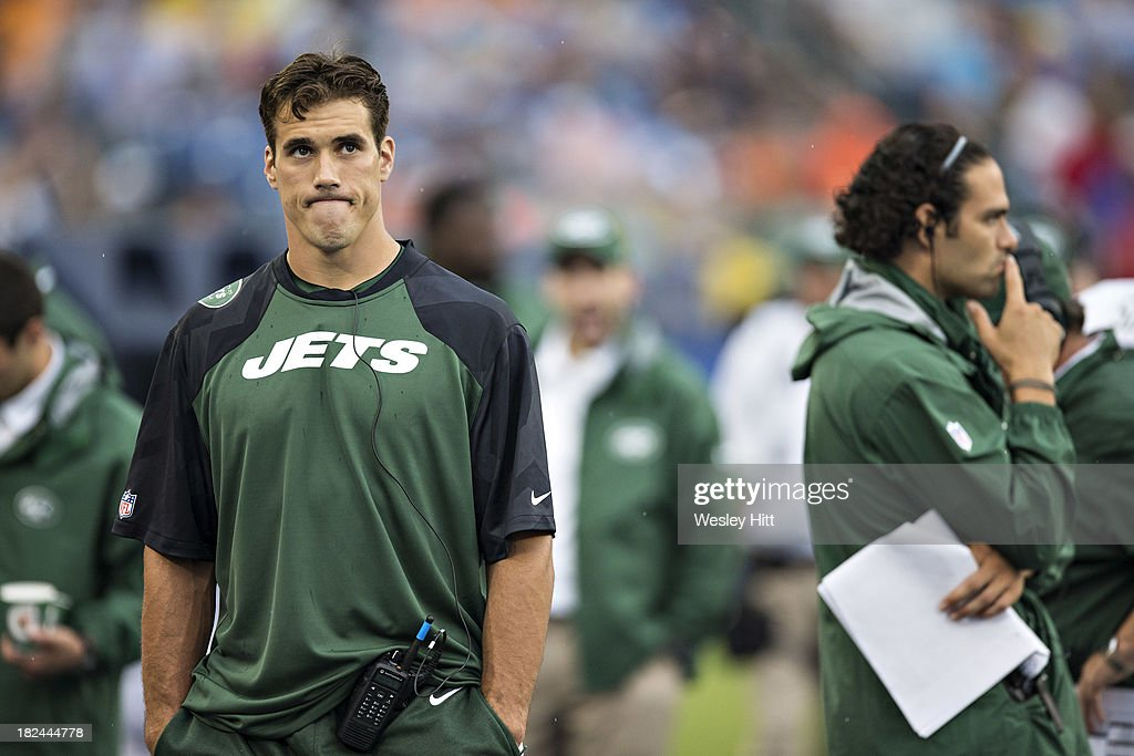 <a gi-track='captionPersonalityLinkClicked' href=/galleries/search?phrase=Brady+Quinn&family=editorial&specificpeople=228717 ng-click='$event.stopPropagation()'>Brady Quinn</a> #9 and <a gi-track='captionPersonalityLinkClicked' href=/galleries/search?phrase=Mark+Sanchez&family=editorial&specificpeople=690406 ng-click='$event.stopPropagation()'>Mark Sanchez</a> of the New York Jets on the sidelines during a game against the Tennessee Titans at LP Field on September 29, 2013 in Nashville, Tennessee. The Titans defeated the Jets 38-13.