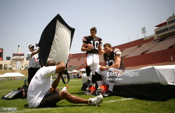 Brady Quinn of the Cleveland Browns poses with new teammate Joe Thomas for a photographer at the 2007 NFL Players Rookie Premiere on May 19 2007 at...