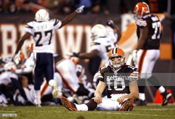 Brady Quinn of the Cleveland Browns reacts after fumbling against the San Diego Chargers at Cleveland Browns Stadium on December 6 2009 in Cleveland...