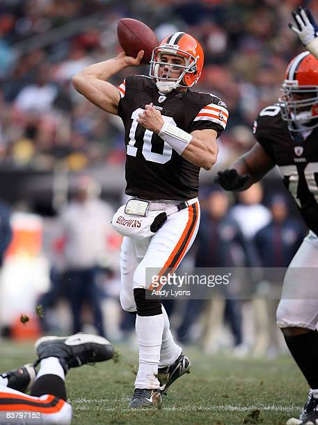 Brady Quinn of the Cleveland Browns throws a pass during the NFL game against the Houston Texans at Cleveland Browns Stadium on November 23 2008 in...