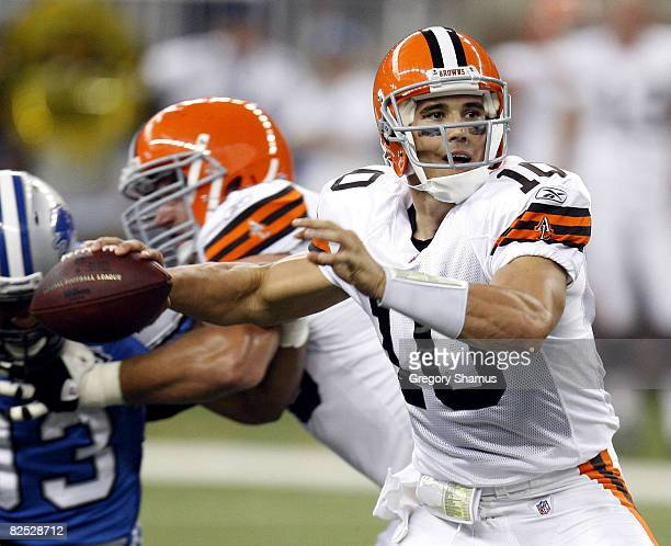 Brady Quinn of the Cleveland Browns throws a pass while playing the Detroit Lions on August 23 2008 at Ford Field in Detroit Michigan