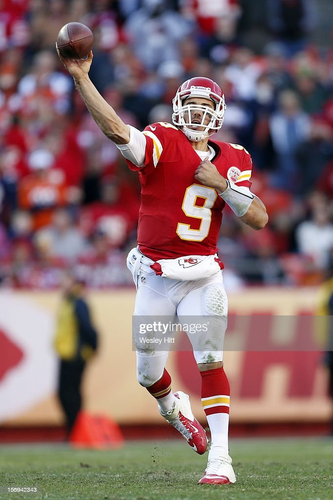 Brady Quinn #9 of the Kansas City Chiefs throws a pass against the Denver Broncos at Arrowhead Stadium on November 25, 2012 in Kansas City, Missouri. The Broncos defeated the Chiefs 17-9.