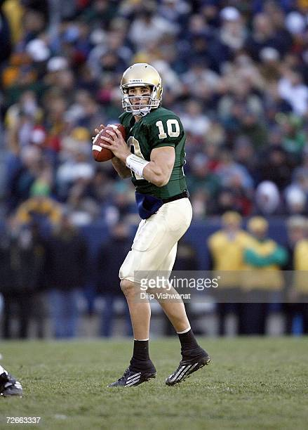 Brady Quinn of the Notre Dame Fighting Irish looks to pass the ball against the Army Black Knights at Notre Dame Stadium on November 18 2006 in South...